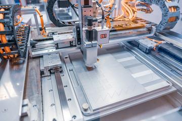 Metalworking CNC lathe milling machine. Cutting metal modern processing technology. Fotomurales