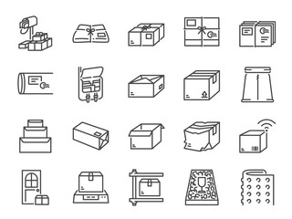 Parcel line icon set. Included the icons as package, box, packing, shipping, delivery, mail, bubble wrap, foam pellets and more.