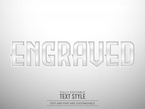 Iron plate metallic shining engraved text effect