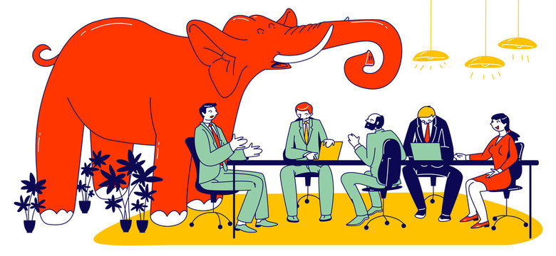 Huge Red Elephant Trumpet Inside of Modern Office with Business People Characters Sitting at Board Meeting Having Conversation. Concept of Unsolved and Avoided Problems. Linear Vector Illustration