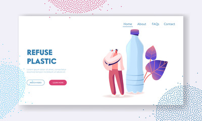 Micro Plastic Contamination Landing Page Template. Tiny Male Character Drinking Bottle Water with Microplastic Pieces. Ecological Pollution, Planet Eco System Environment. Cartoon Vector Illustration