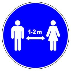 Stores à enrouleur Pierre, Sable shas596 SignHealthAndSafety shas - German / Gebotsschild, Gebotszeichen: Bitte Abstand halten. - 1-2 meter. - english / mandatory sign: keep your distance - infection - prevention / hygiene. - g9261