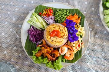 Obraz Rice Mixed with Shrimp paste ( Kao Cluk Ka Pi ) - fototapety do salonu