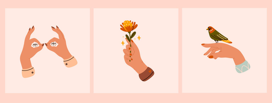 Set of three pairs of Tender female hands. Different gestures. Hands with bird and flower. Shadow puppet eyes. Hand drawn colored trendy vector illustrations. All elements are isolated