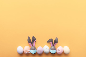 Cute creative photo with easter eggs, some eggs like easter bunny