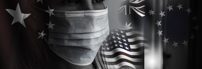 girl wearing protective mask. New coronavirus 2019-nCoV from China