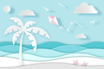 Sea landscape with beach, palm, waves, clouds and birds. Paper cut digital craft style. Carving art. Vector illustration