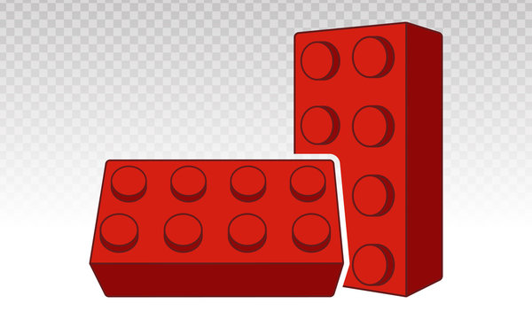 Lego brick block or piece line art vector icon for toy mobile app and websites