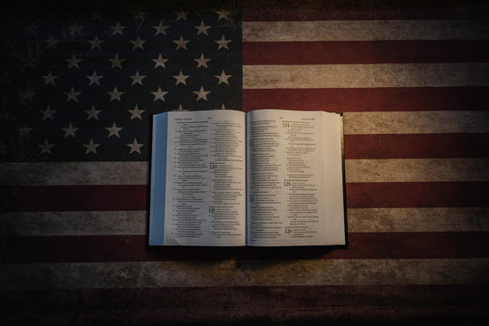 Holy Bible and vintage American Flag