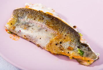 Roasted trout fillet with broccoli