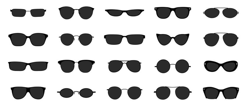 Sunglasses icon set. Black glasses optic frames silhouette. Sun lens ocular with plastic rims. Vector illustration stylish isolated objects on white