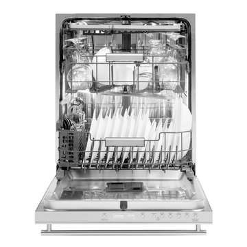 Open Dishwasher Isolated on White.  Modern Stainless Steel Fully Integrated Dishwasher Range Machine Front View. Built-In Domestic and Kitchen Major Appliances