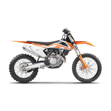 Motocross Motorcycle Isolated on White Background. Side View of Modern Orange Appeal and White Supercross Off-Road Dirt Bike. AWD All Wheel Drive Racing Sportbike. Personal Transport. 3D Rendering