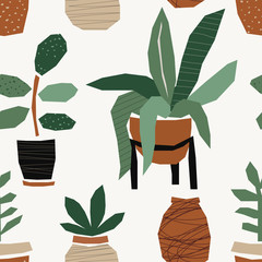Trendy seamless pattern with abstract paper cut out collage of organic shapes as plants in pots, vector illustration in minimal flat style