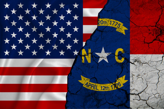 United States flag weaving texture with  flag of North Carolina on cracked ground, concept of state drought.