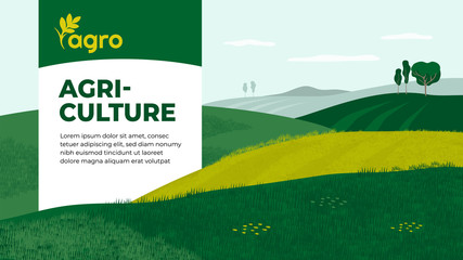 Vector illustration of landscape with agricultural fields. Design for farming company with crops, farm, cultivated land. Template with agriculture for banner, layout, flyer, booklet, brochure, web, ad Papier Peint