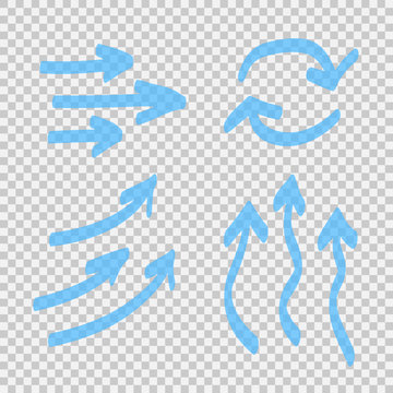 Set of blue arrow isolated on transparent background