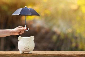 Piggy bank and woman hand hold the black umbrella for protect on sunlight in the public park, to prevent for asset and saving money for buy health insurance concept.