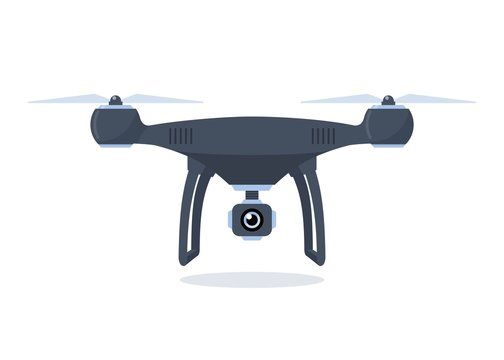 Drone with action camera. Quadcopter isolated on white background. Vector flat illustration.