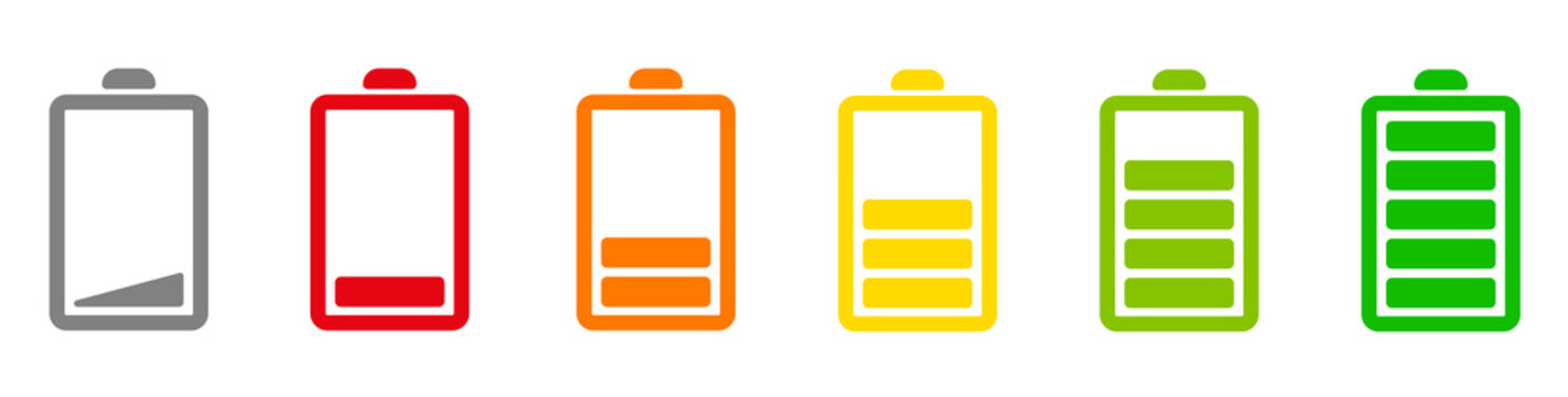 Battery icons set. Battery charging charge indicator icon. level battery energy. Alkaline battery capacity charge icon. Flat style - stock vector.