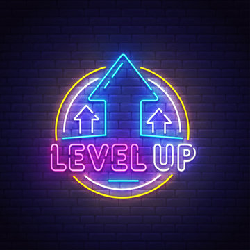 Level up neon sign, bright signboard, light banner. Game popup. Game logo neon, emblem. Vector illustration