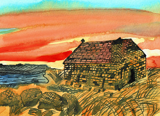 Historical Church in a Sunset, Hand Drawn Water Color Painting