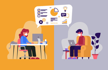 Vector illustration of two workers telecommuting from their homes