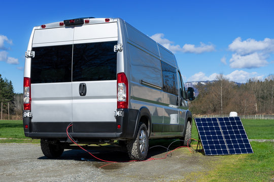 Solar Panel Collecting Power for a Class B Camper Van