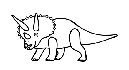 Dinosaur triceratops coloring book for children and adults. Stylish hand drawn antistress coloring page. Vector outline T Rex illustration.