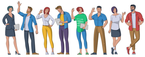 People greeting gesture flat vector illustrations set. Youmb menand women are waving hand and say hello. Flat design vector concept isolated on white background.