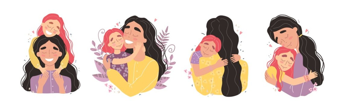 Beautiful young woman and her charming little daughter. Girl hugs mom and smiles. Set of illustrations for mothers day