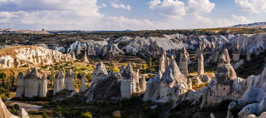 Picturesque panoramic landscape view on Goreme national park. Goreme national park - concept of Cappadocia as touristic destination. Turkey, Asia.