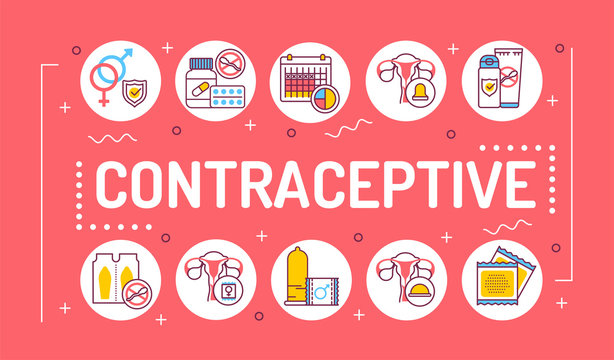 Contraceptive word lettering typography. Safety sex. Birth control elements: intrauterine, oral, hormonal and protective. Infographics with linear icons on pink background. Creative idea concept.