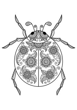 Ladybug anti-tress doodle coloring book page for adult. Zentangle insect black and white illustration.