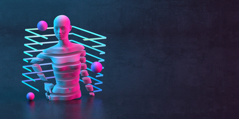 3d-illustration of an abstract composition of mannequin and primitive objects on dark background