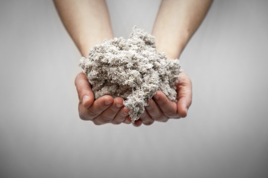 Hands holding cellulose fiber for ecological insulation of the house. Conservation of home heat and energy saving