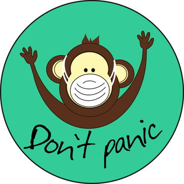 Monkey with inscription don`t panic in medical masks