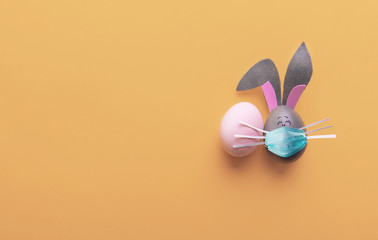 Cute creative photo with easter eggs, some eggs like easter bunny Fotomurales