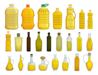 Sunflower oil isolated vector illustration on white background . Vector cartoon set icon bottle of oil. Isolated cartoon set icon sunflower product.