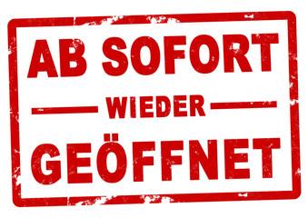nlsb1375 NewLongStampBanner nlsb - german label / banner - Eröffnung - Schild mit der Stempel Aufschrift:  Ab sofort wieder geöffnet. - einfach / rot / Vorlage - DIN A3, A4 - new-version - xxl g9267 Fototapete