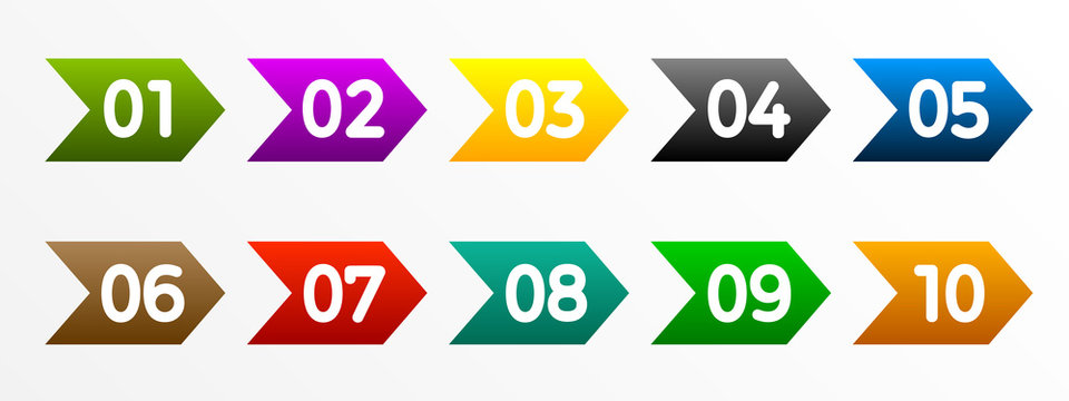 Modern colorful numbers button set multicolored – for stock vector