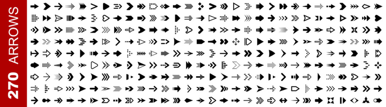 Set 270 arrow icon. Collection different arrows sign. Black vector arrows icons – stock vector