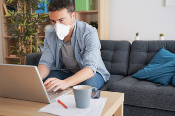 Man teleworking from home after coronavirus pandemic