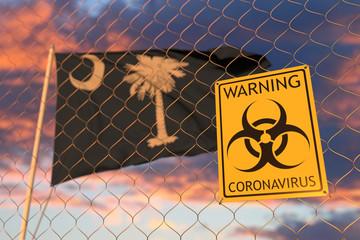 Biohazard coronavirus sign against flying flag of South Carolina. Quarantine related 3D rendering Wall mural