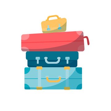 Vector travel concept in flat style - stack of vintages suitcases in trendy colors.