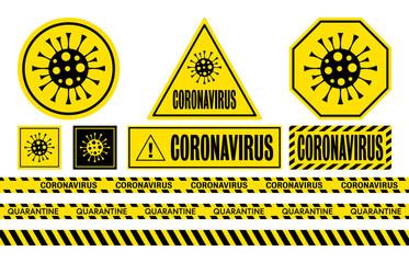 Coronavirus. COVID-19 danger signs, icons and warning tapes. Pandemic and quarantine logo. Wuhan virus vector illustration
