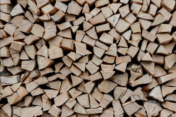 Tuinposter Brandhout textuur Stacks of Firewood. Preparation of firewood for the winter. Pile of Firewood.Firewood background