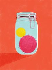 illustration of coronavirus sample in airtight glass jar