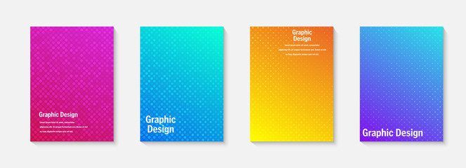 Vector halftone cover design templates. Layout set for covers of books, albums, notebooks, reports, magazines. Dot halftone gradient effect, modern abstract design. Geometric mock-up texture.