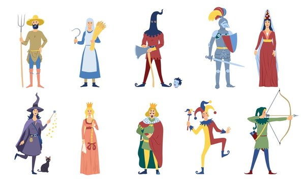 Set of vector medieval or fairy tale characters. Such as peasant, witch, archer, king, knight, magic, princess, magician and